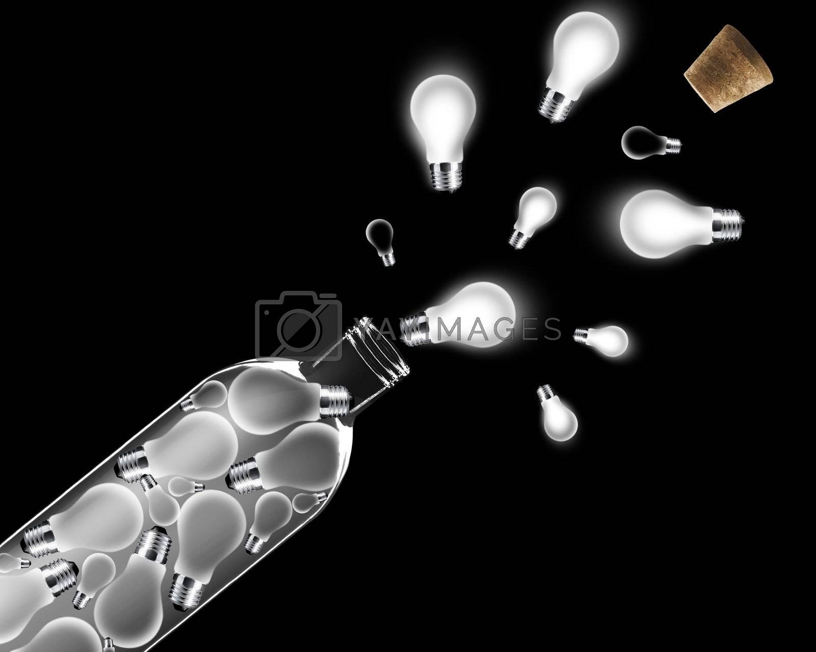 lightbulb inside and outside Glass bottle on black background.