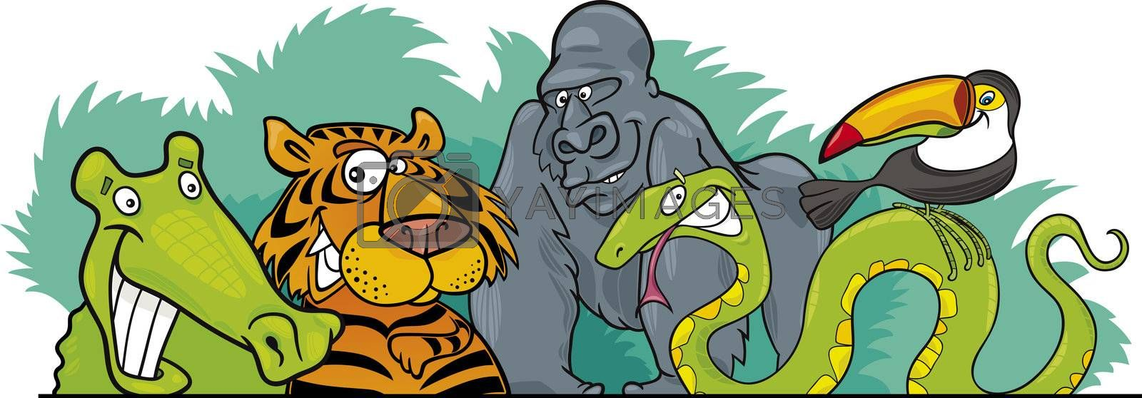 Cartoon illustration of Jungle Wild Animals header design