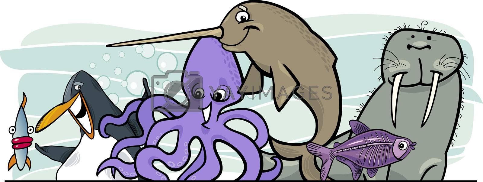 Cartoon illustration of Sea Life Animals header design