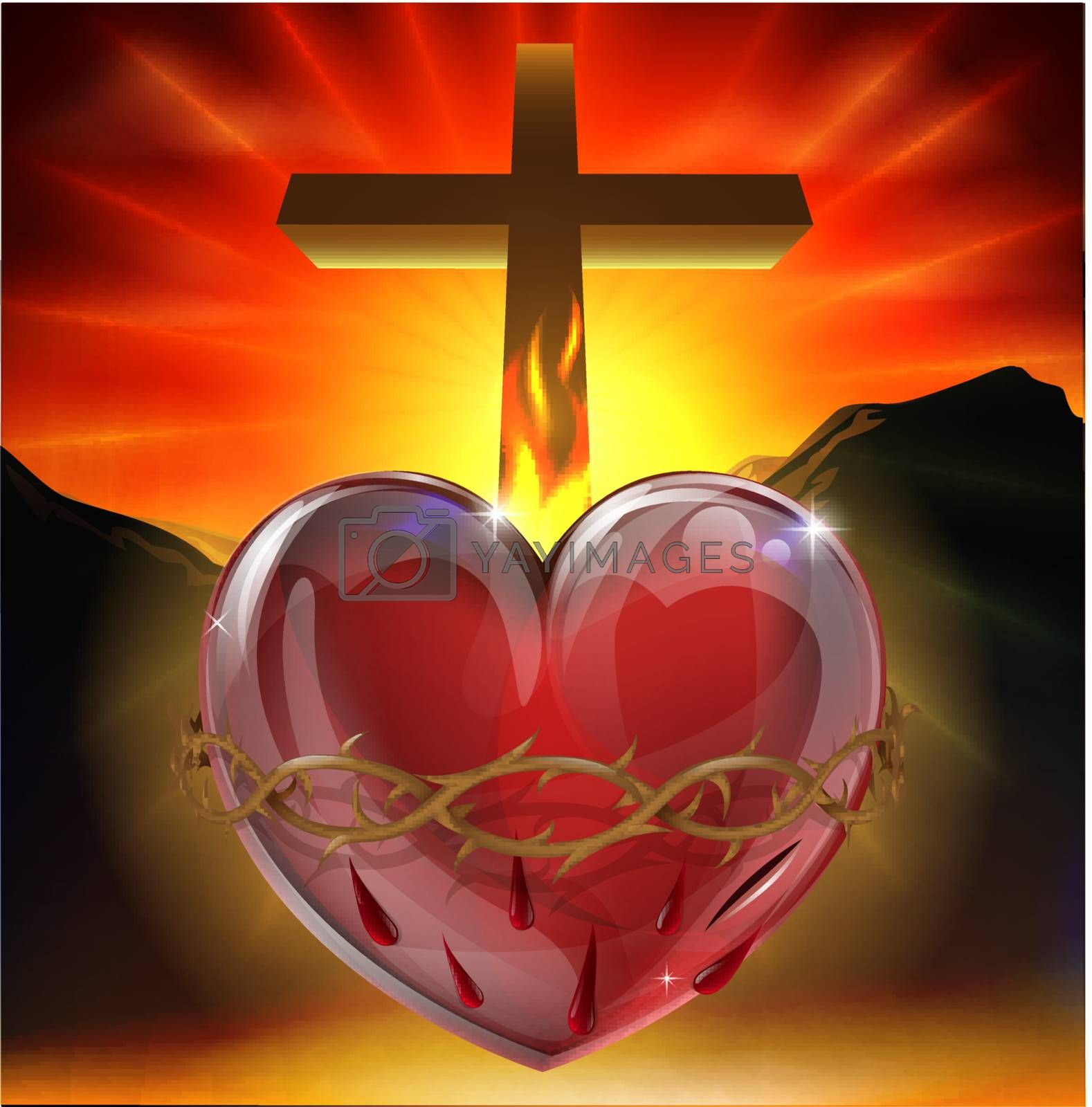 Illustration of the Christian symbol of the sacred heart. A heart shining with divine light with crown of thorns,  lance wound and flame representing divine love.