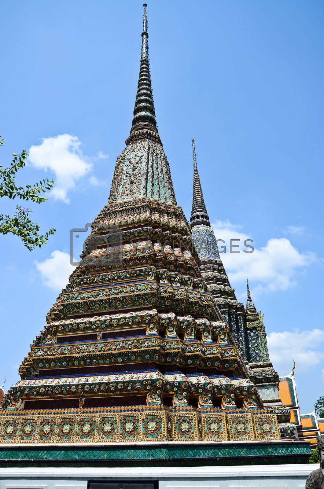 Ancient Pagoda or Chedi at Wat Pho, Thailand.