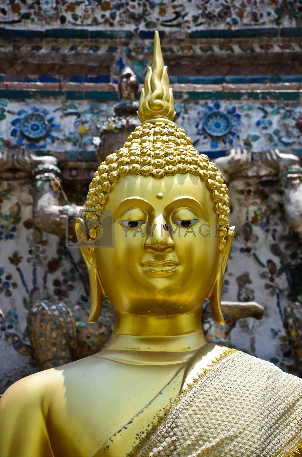 Buddha statue in Wat Arun of Bangkok in Thailand.