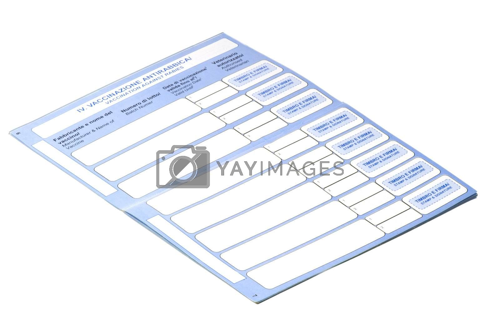 a pets passport on a white background