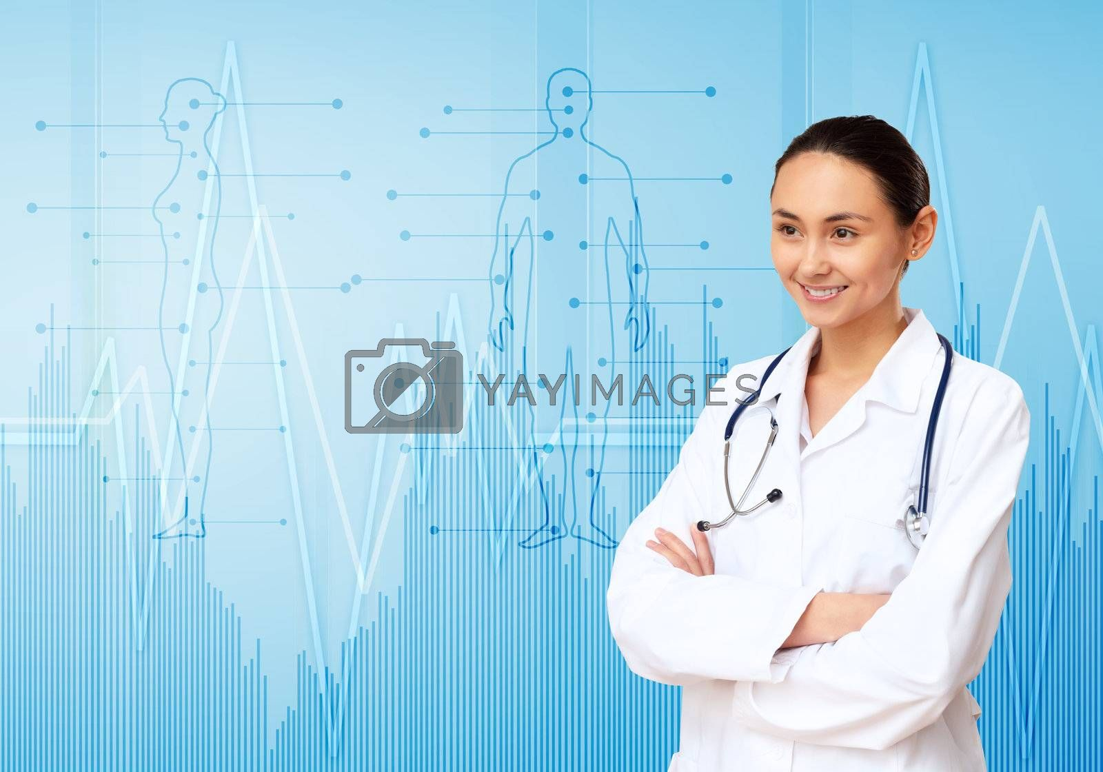 Young doctor in white uniform against technology background