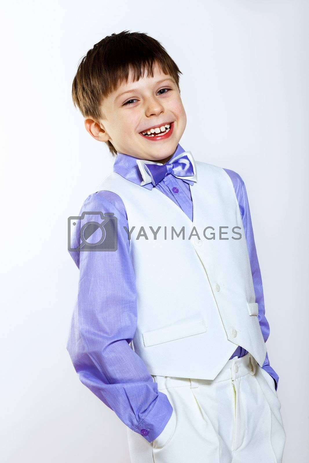 Portrait of a little boy dressed for a celebration