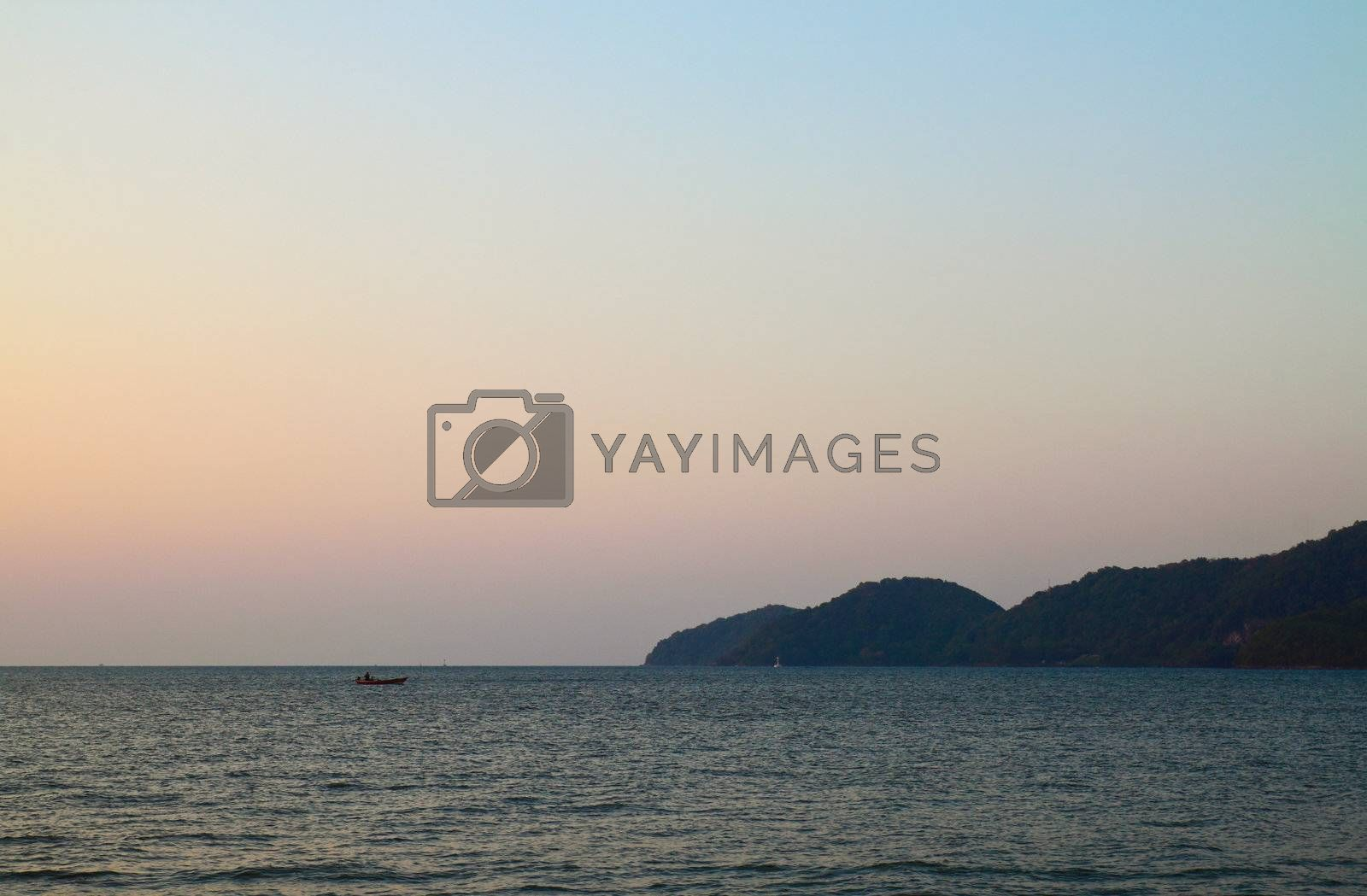 landscape of the sea with mountain
