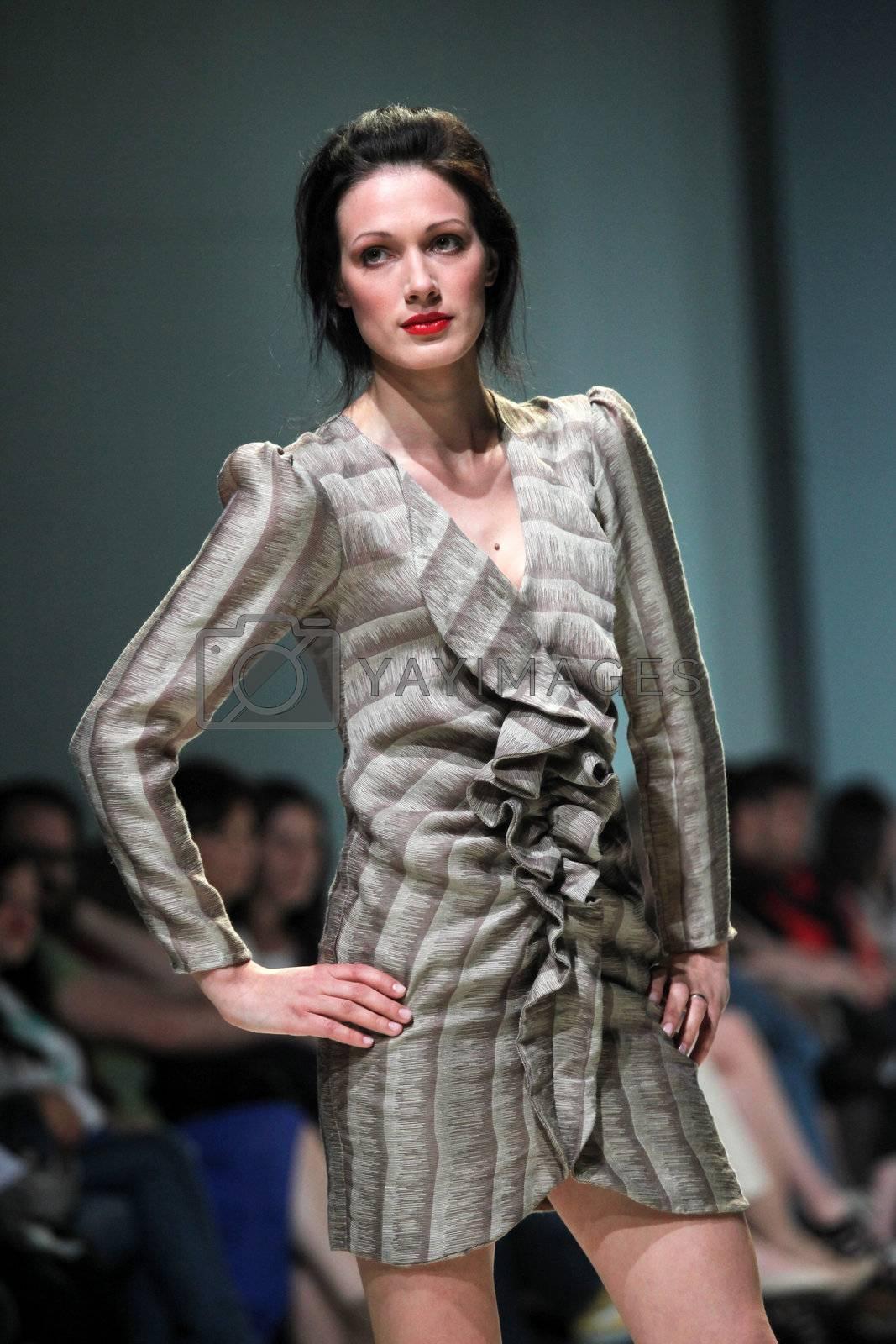 "ZAGREB, CROATIA - May 11: Fashion model wears clothes made by Natalija Smogur on ""ZAGREB FASHION WEEK"" show on May 11, 2012 in Zagreb, Croatia."