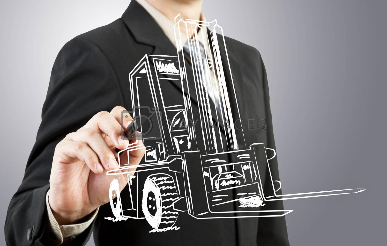 Business man draw forklift  transportation