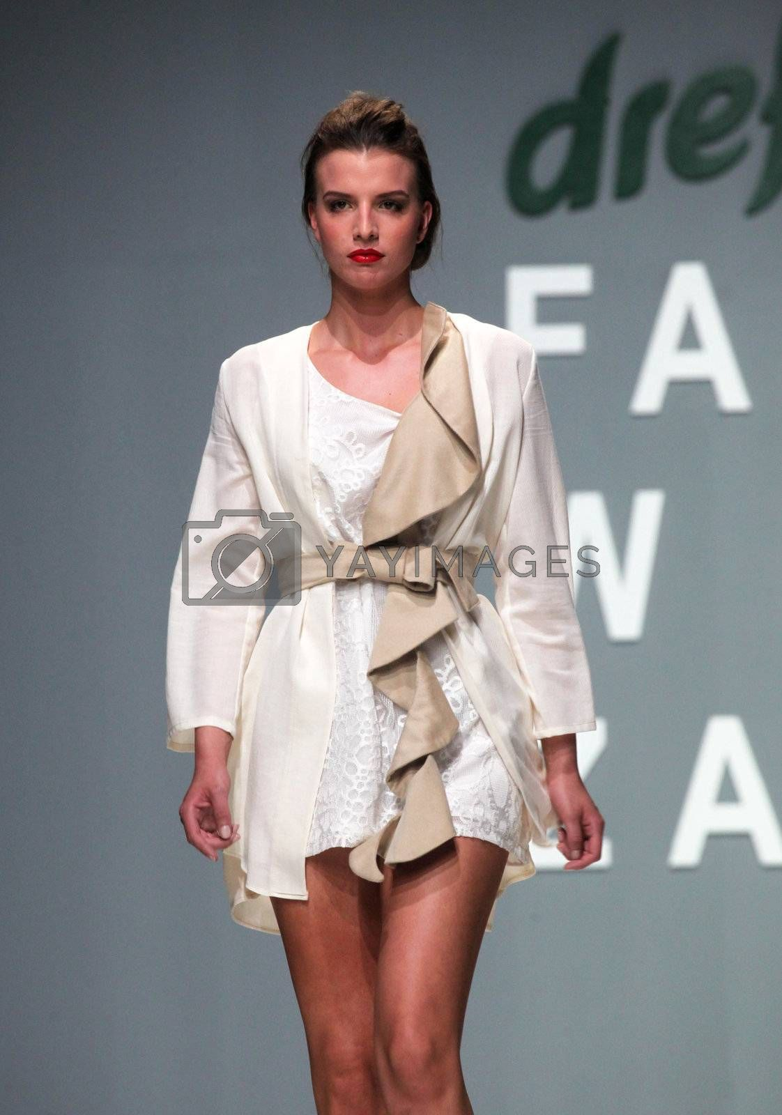 "ZAGREB, CROATIA - May 11: Fashion model wears clothes made by Natalija Smogur on ""ZAGREB FASHION WEEK"" show on May 11, 2012 in Zagreb, Croatia."