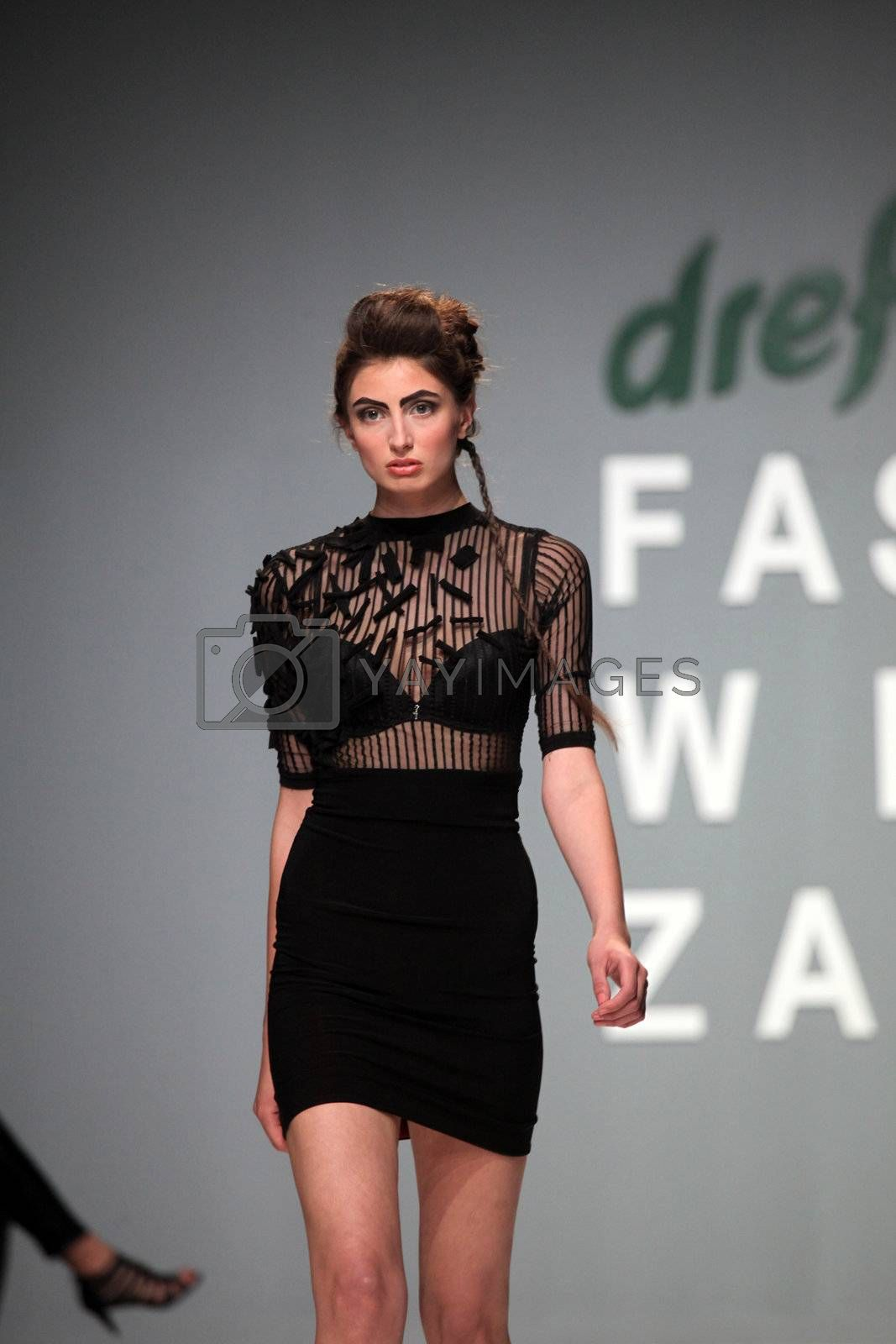 """ZAGREB, CROATIA - May 11: Fashion model wears clothes made by Ivancica Hrustic on """"ZAGREB FASHION WEEK"""" show on May 11, 2012 in Zagreb, Croatia."""