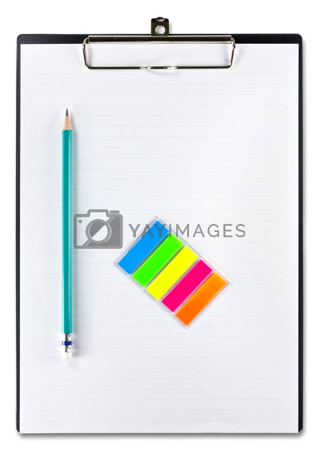 white paper and pencil on clipboard isolated