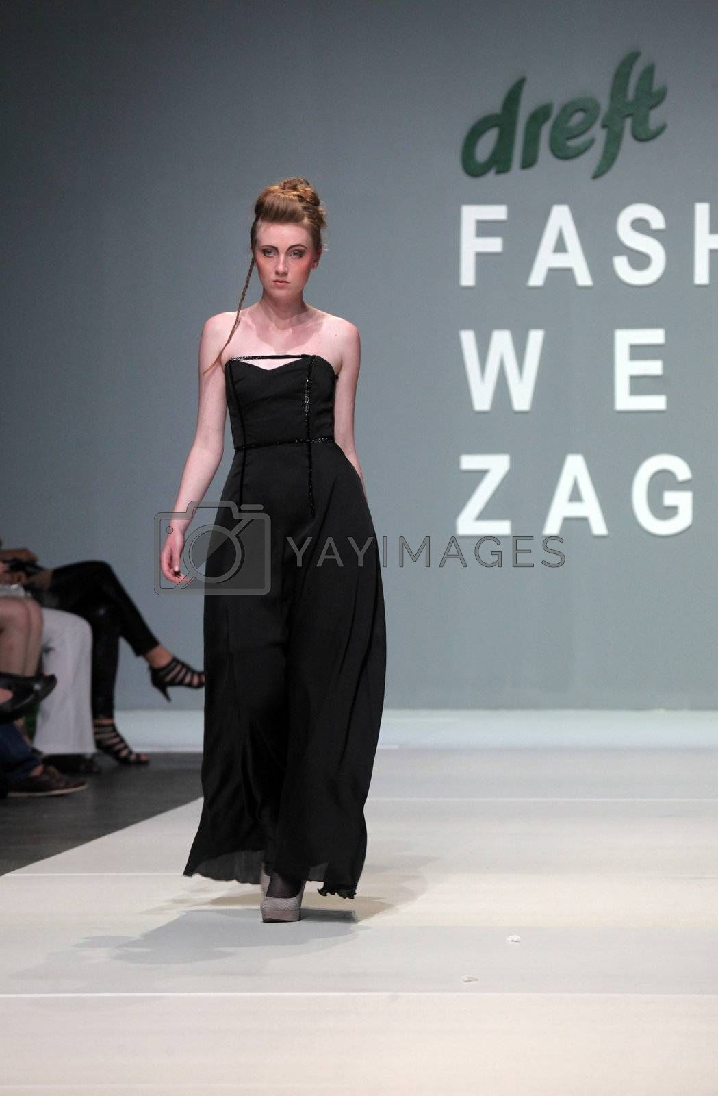 "ZAGREB, CROATIA - May 11: Fashion model wears clothes made by Ivancica Hrustic on ""ZAGREB FASHION WEEK"" show on May 11, 2012 in Zagreb, Croatia."