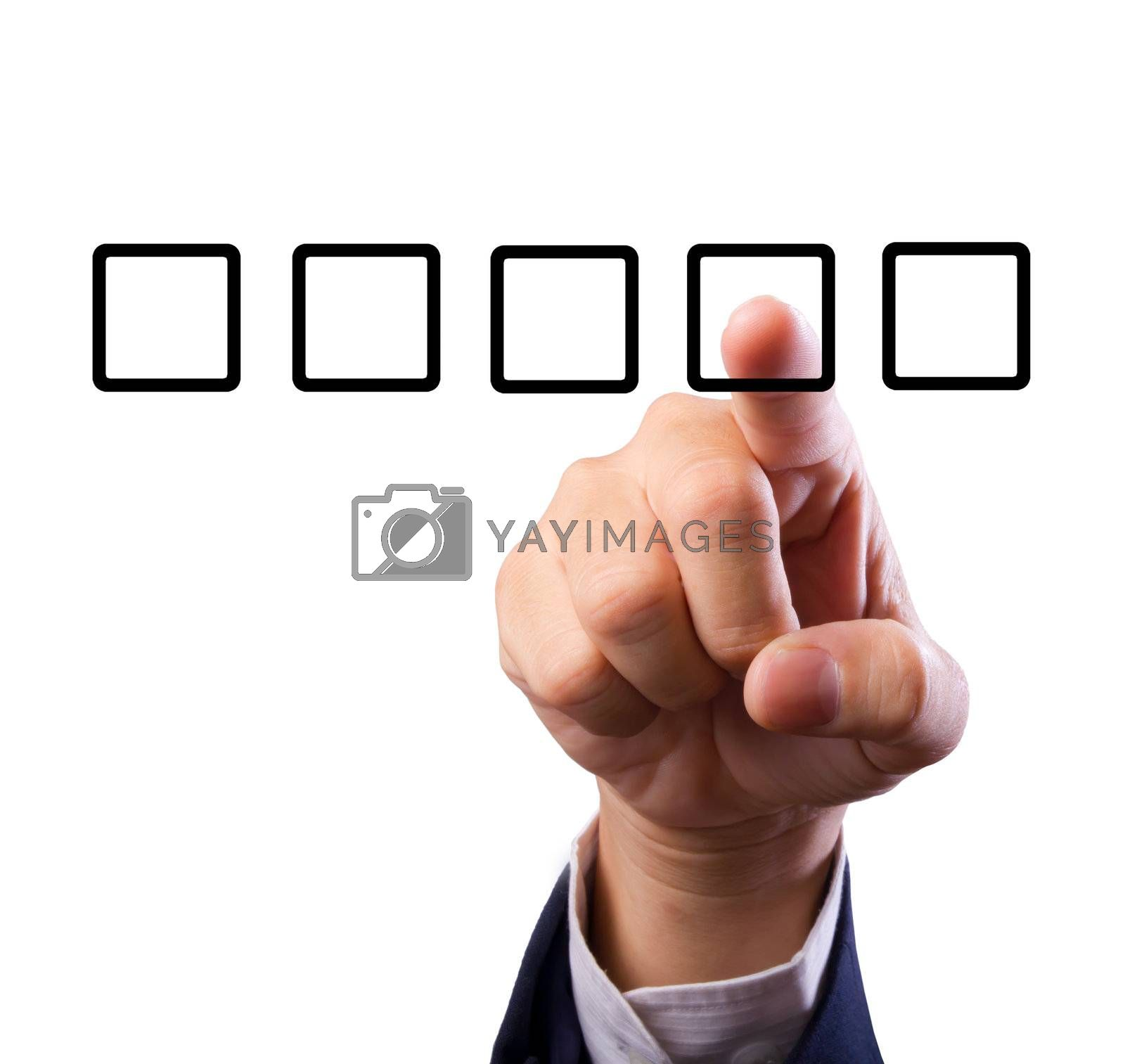 Business man hand choose check box isolated