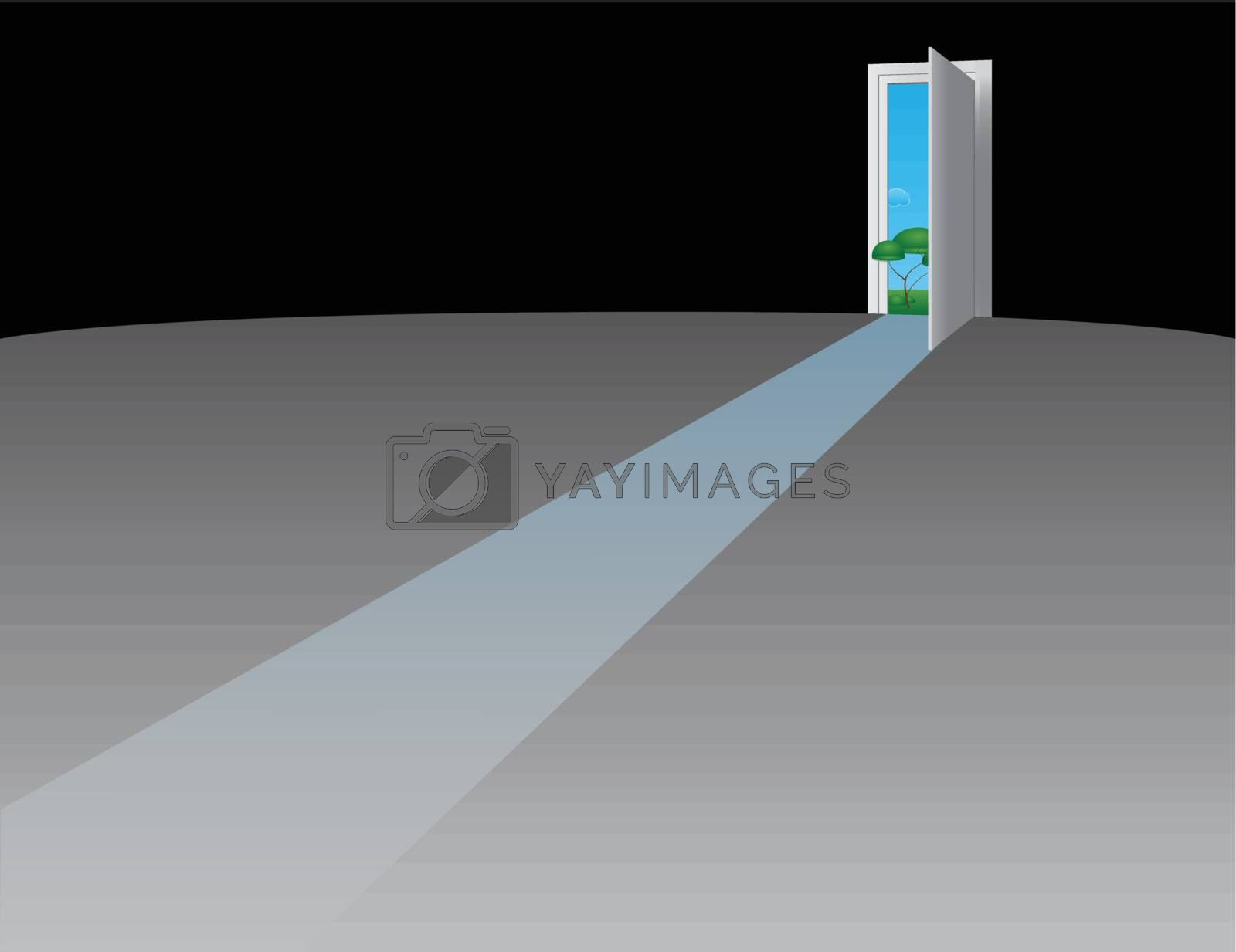 Open the door to nature. Vector illustration.