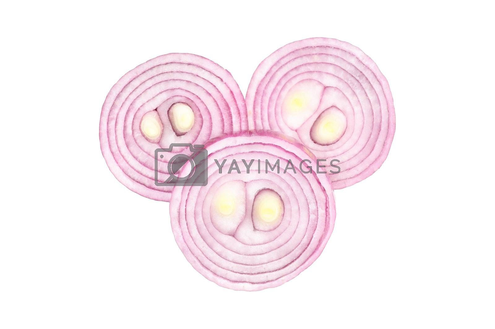 РЎhopped red onion circles. Isolated on white.