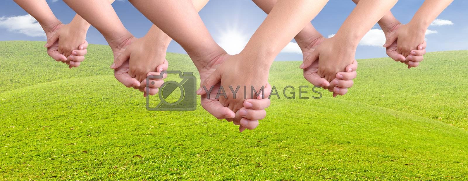 man holding woman hand