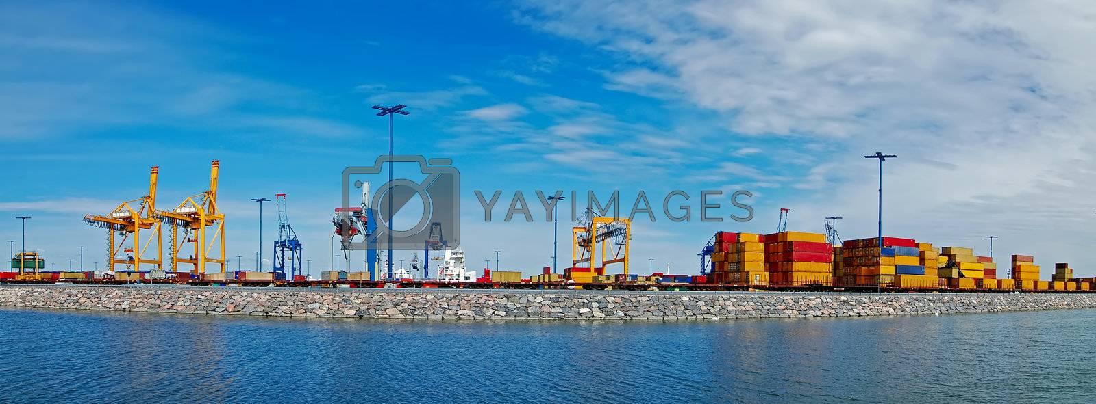 Panorama shot port in Finland. Port of Helsinki.