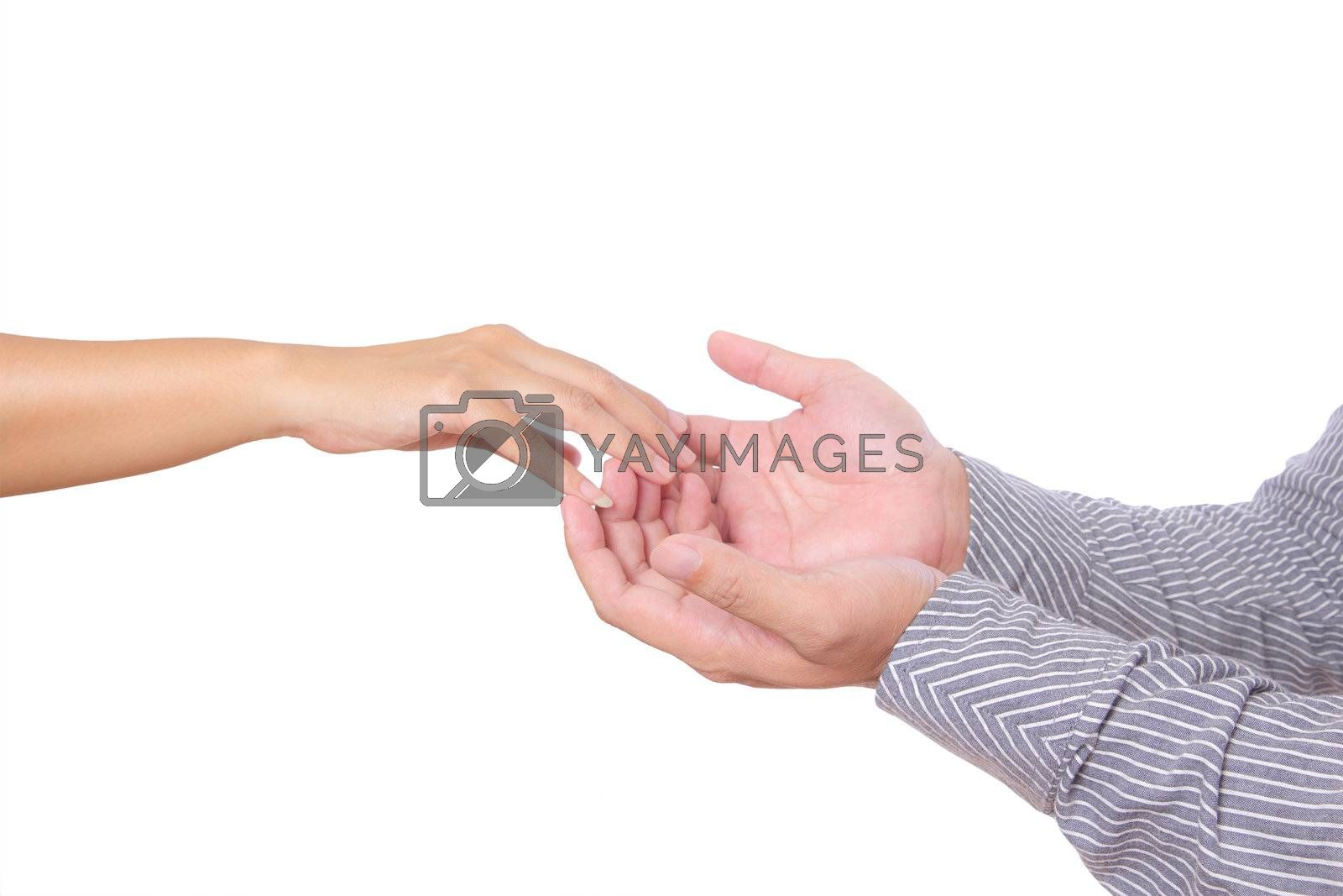 man and woman hand touching finger