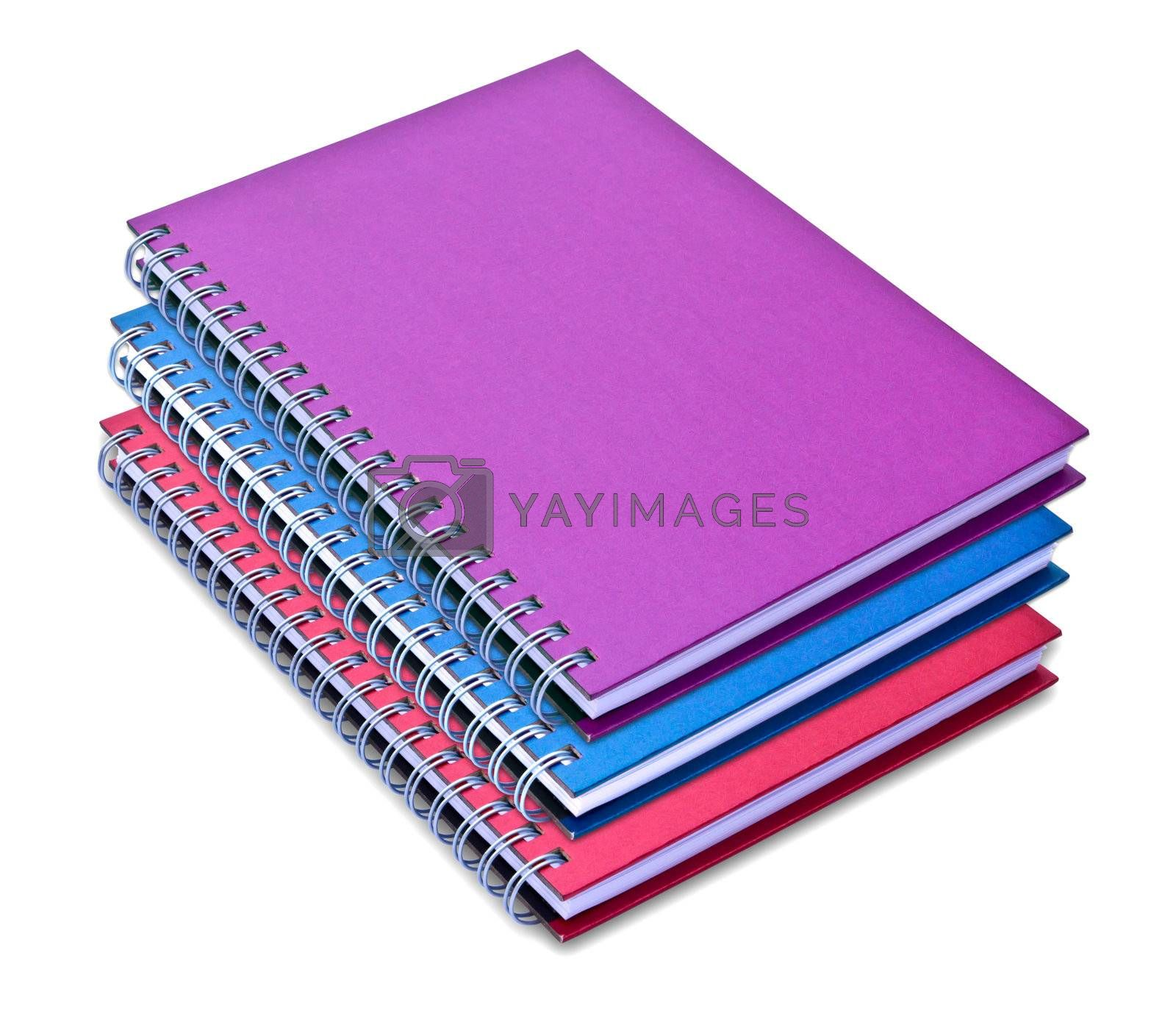 set of color notebook isolated on white background