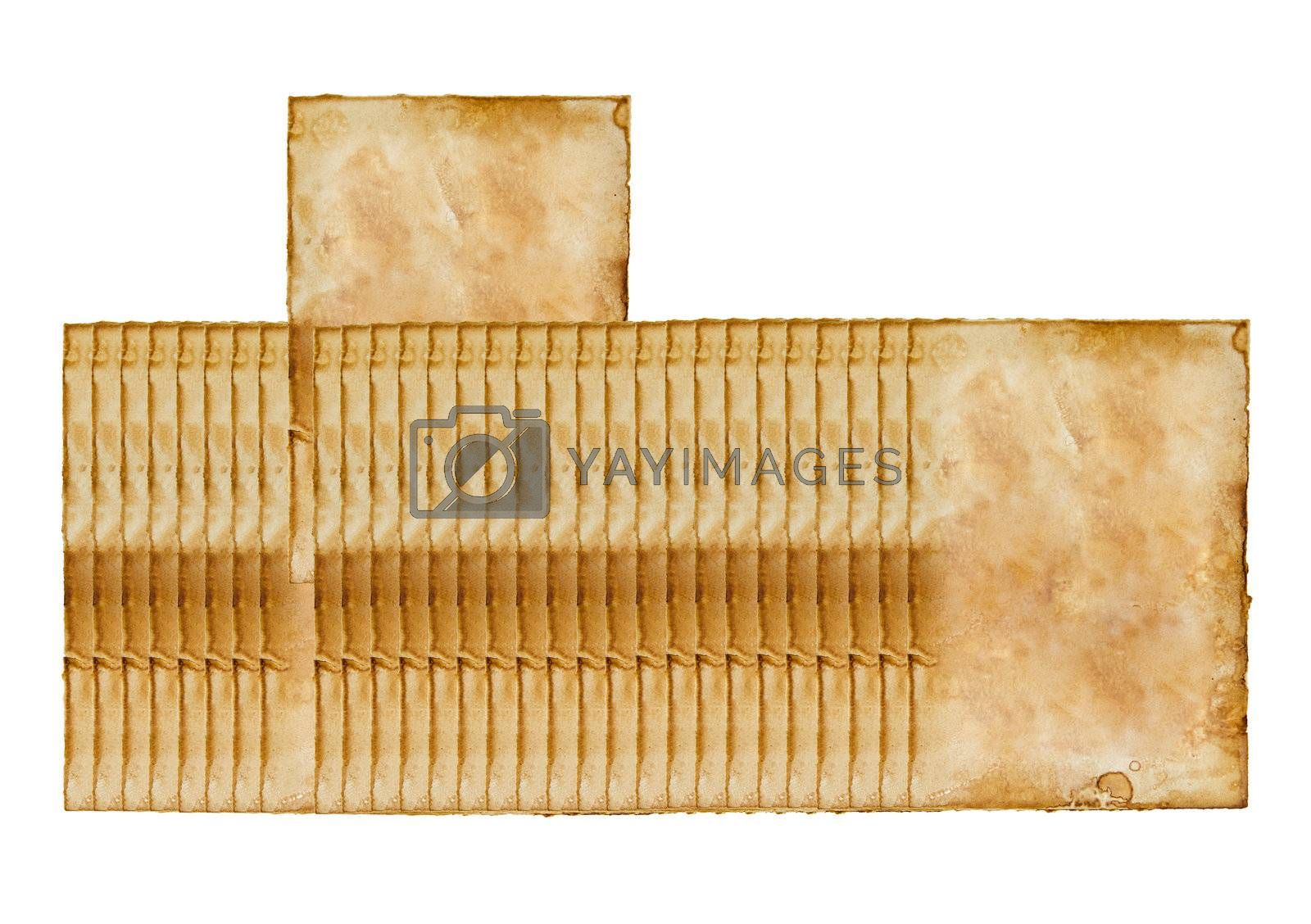 one selected of old vintage paper isolated on white background