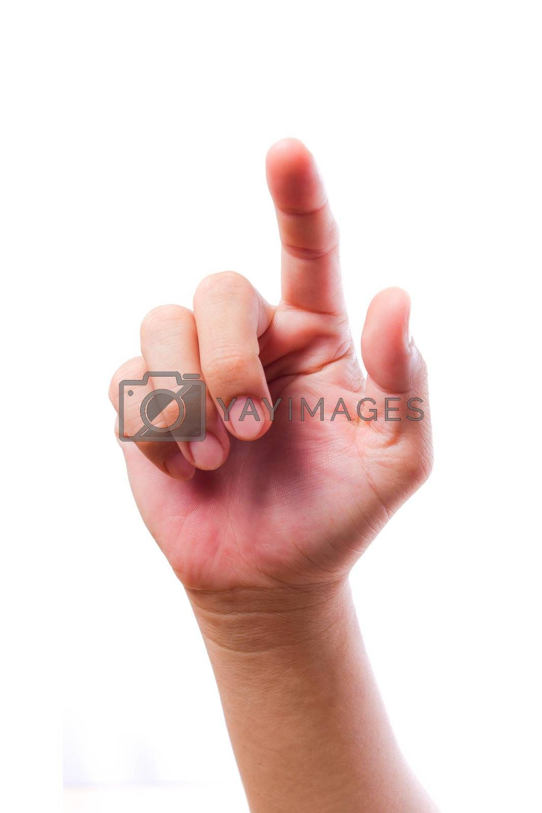 hand touching screen isolated