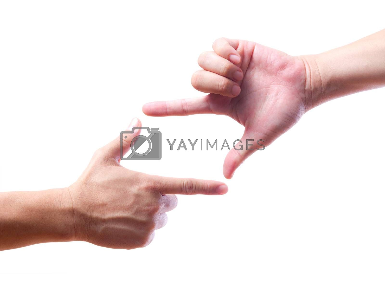 hands made frame isolated