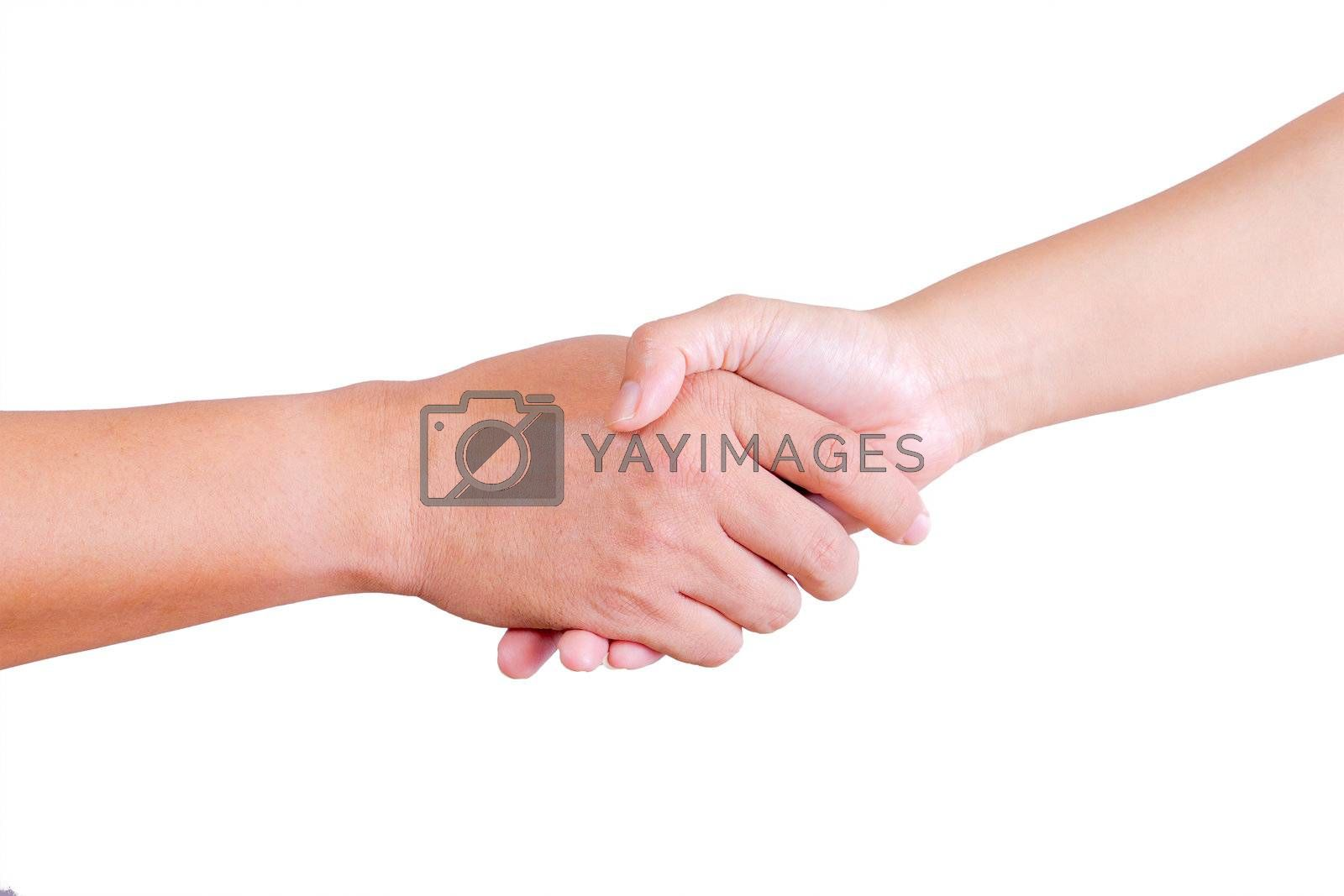 holding hand of man and woman isolated