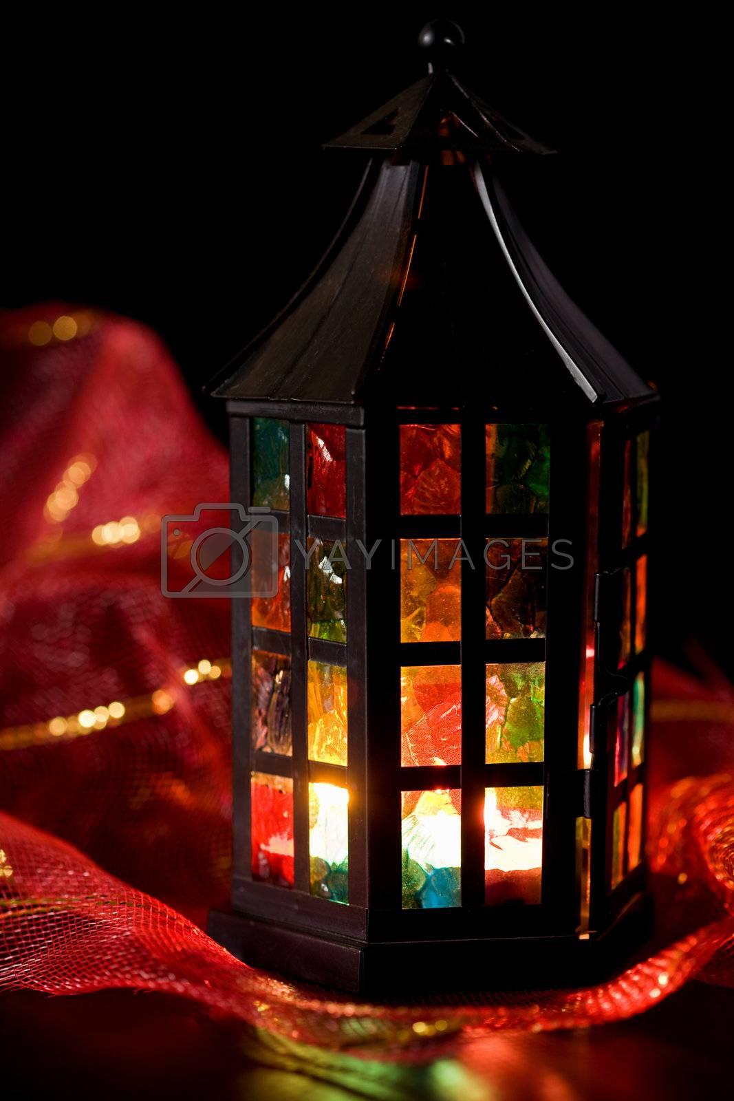 coloful lantern burning in the dark