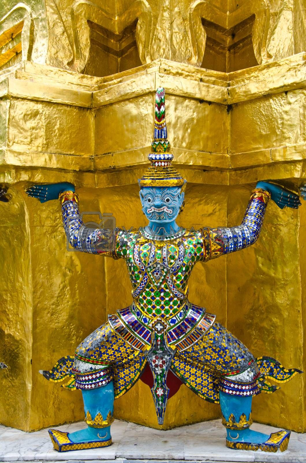 Guardians Surrounding Temple, Golden Pagoda at Wat Phra Kaew