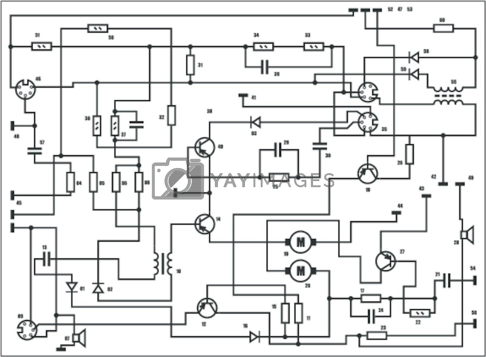 Electric scheme - fantasy technology vector background