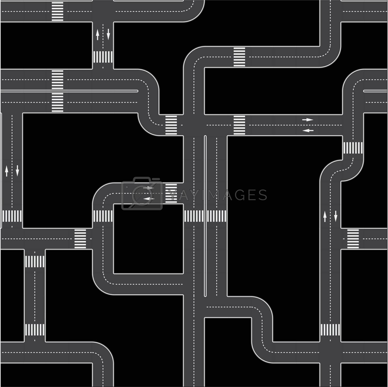Seamless vector texture - the urban asphalt roads. fully editable