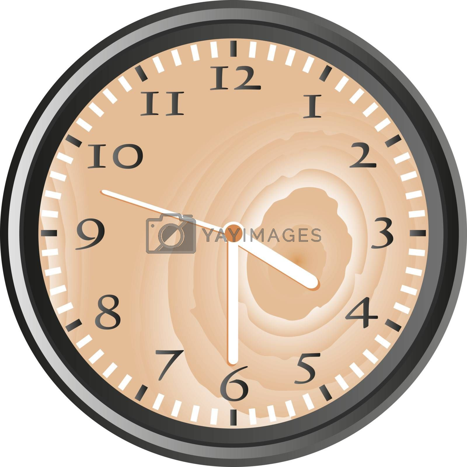wooden wall clock isolated on white background vector
