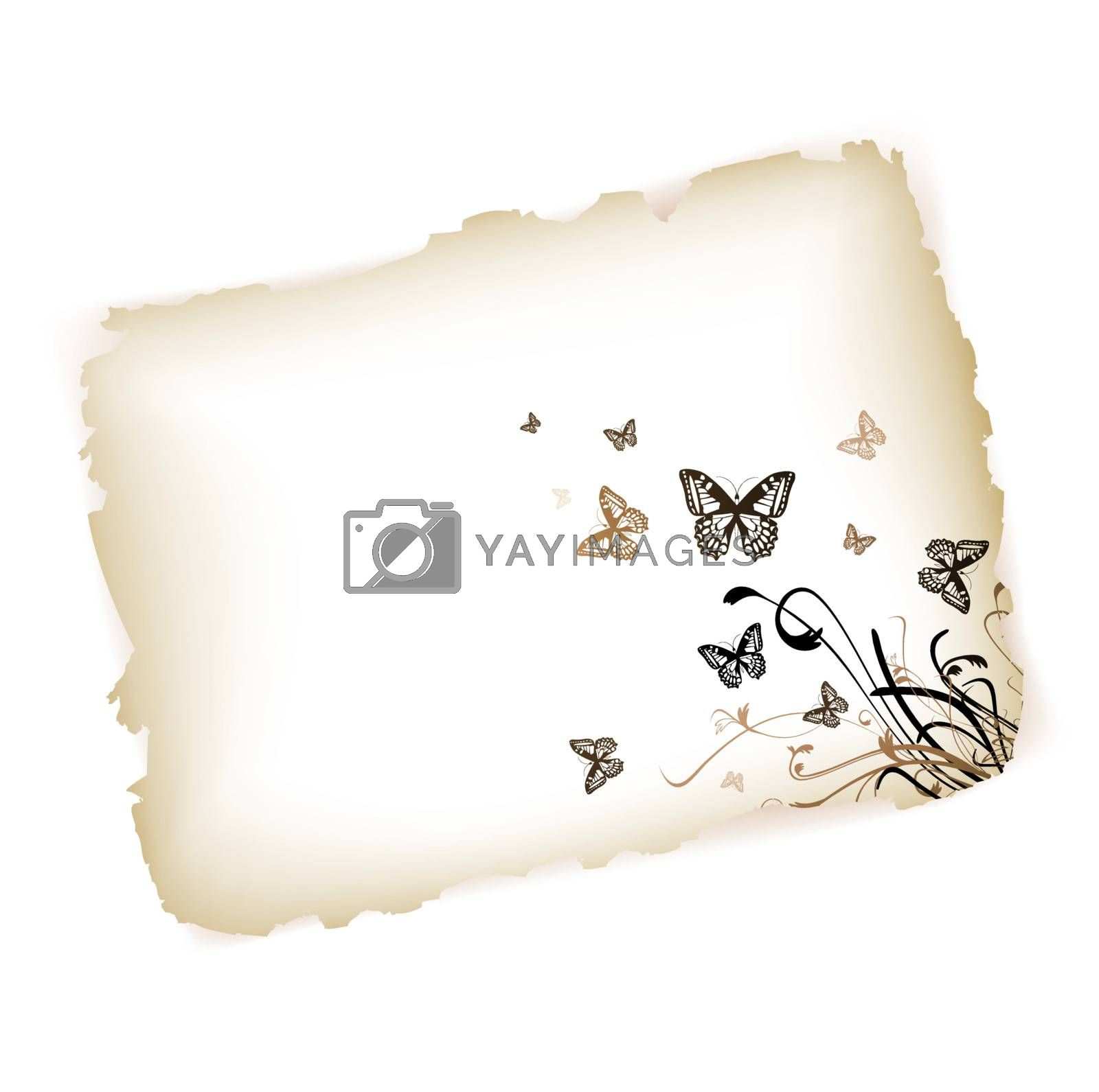 Butterflies with floral at burned paper over white background
