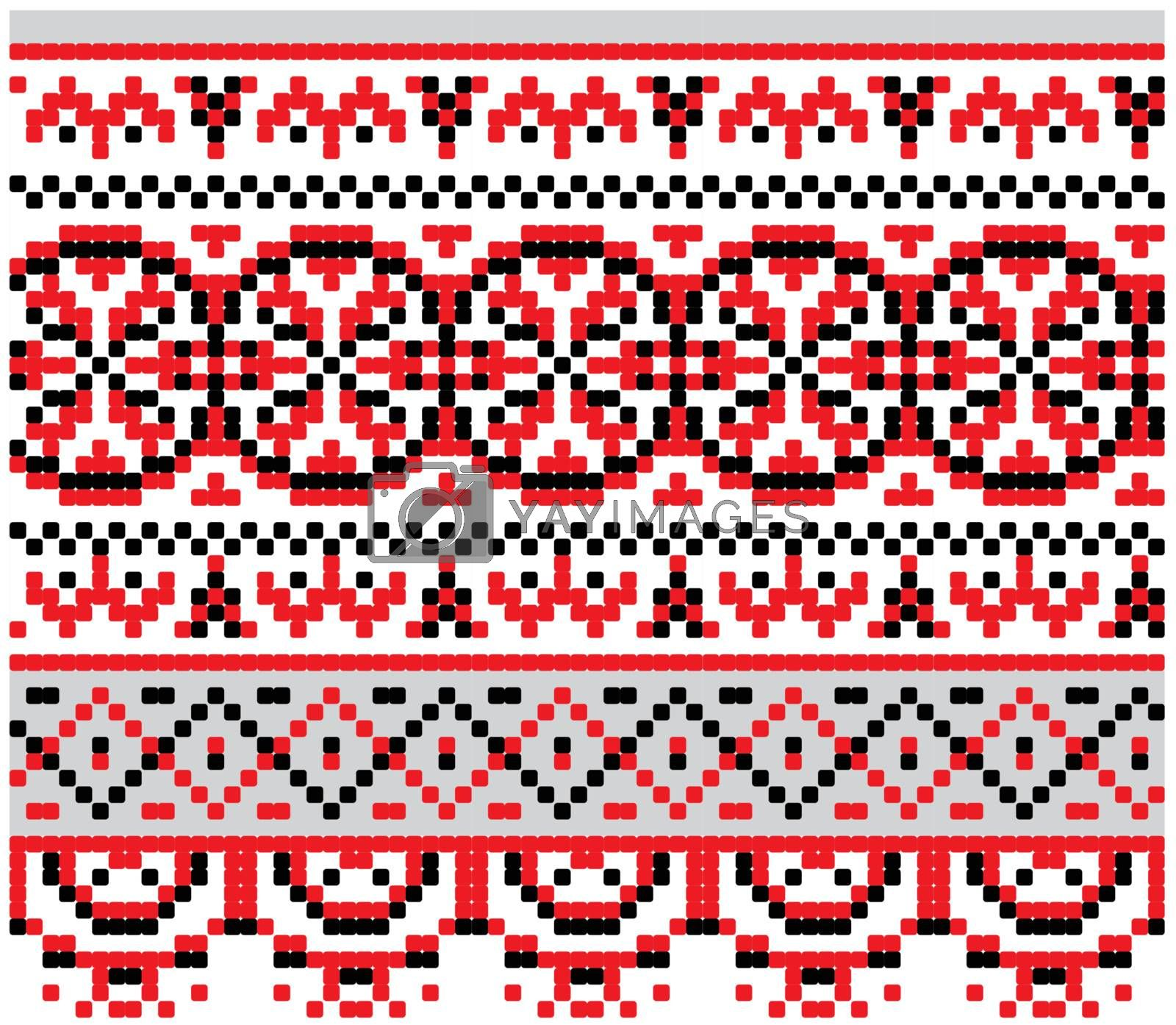 Ukrainian national pattern for cross stitch - vector background