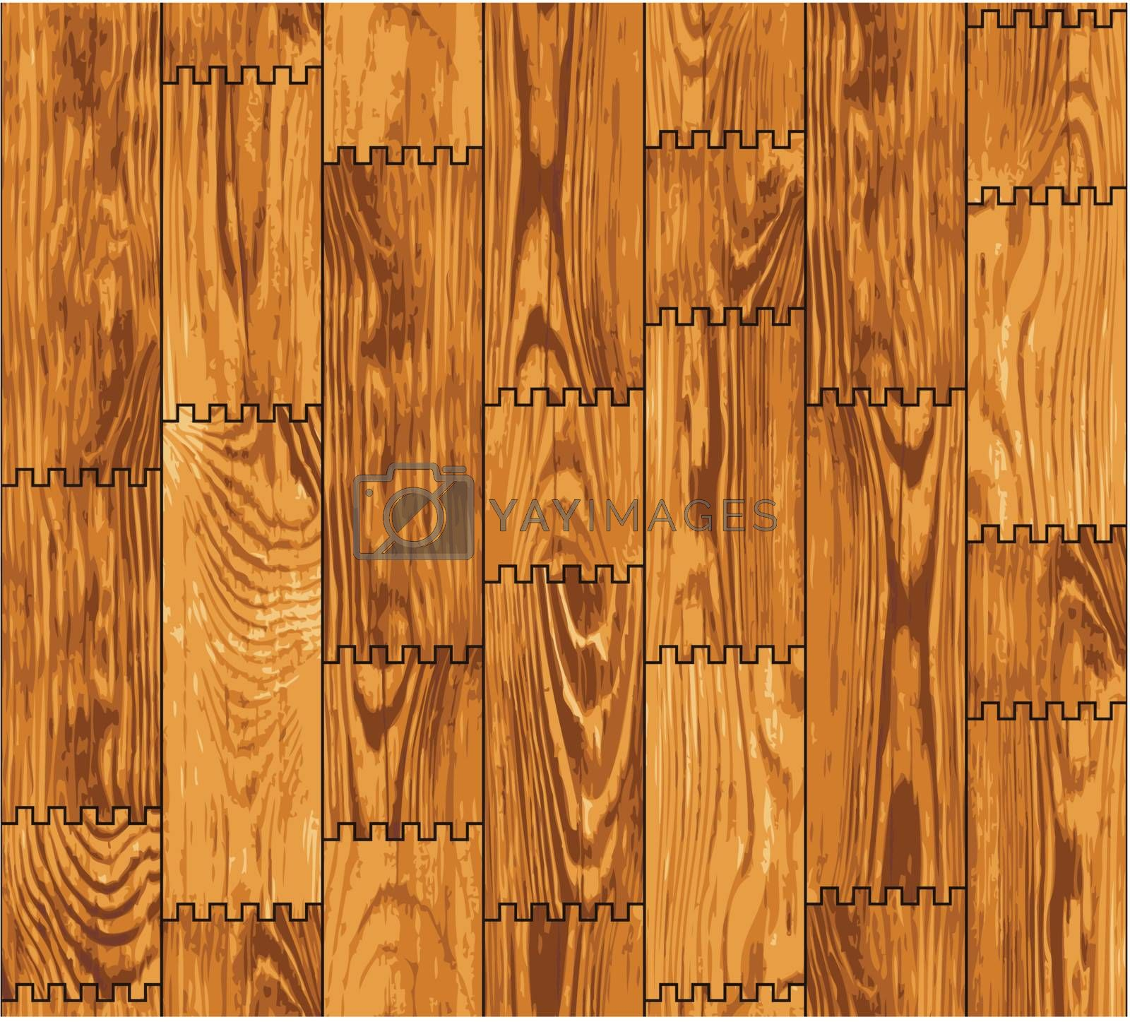 Seamless texture - a wall lined with decorative wooden boards