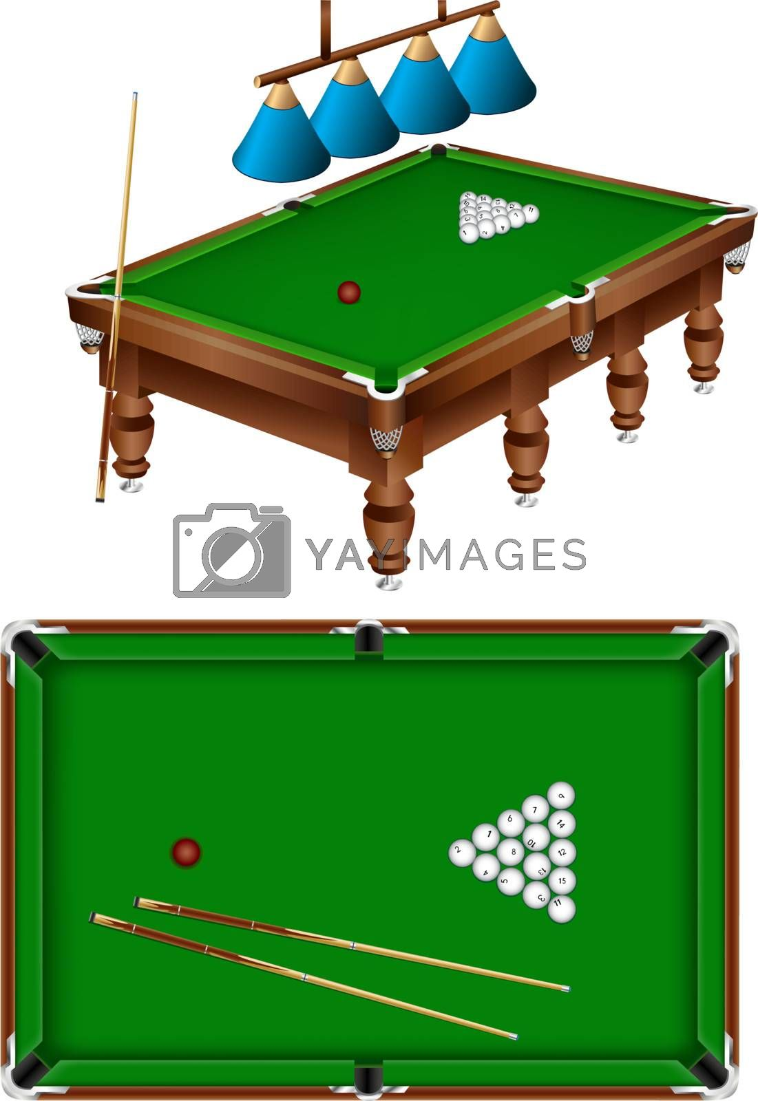 The russian billiard table with a cue, lamps and balls isolated on a white background