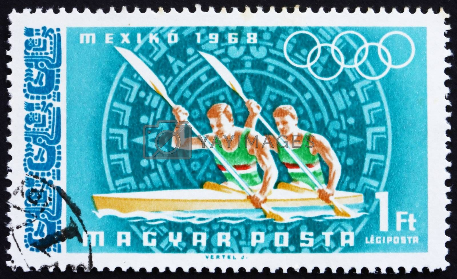 HUNGARY - CIRCA 1968: a stamp printed in the Hungary shows Canoeing, Summer Olympic sports, Mexico 68, circa 1968