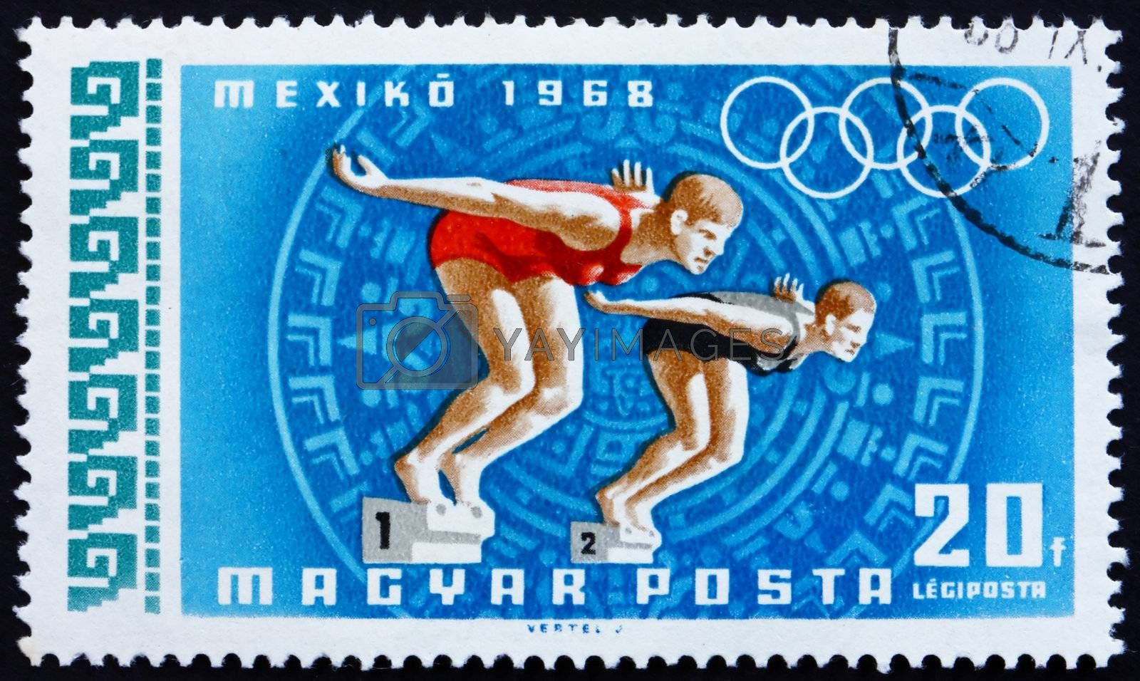 HUNGARY - CIRCA 1968: a stamp printed in the Hungary shows Women Swimmers, Summer Olympic sports, Mexico 68, circa 1968