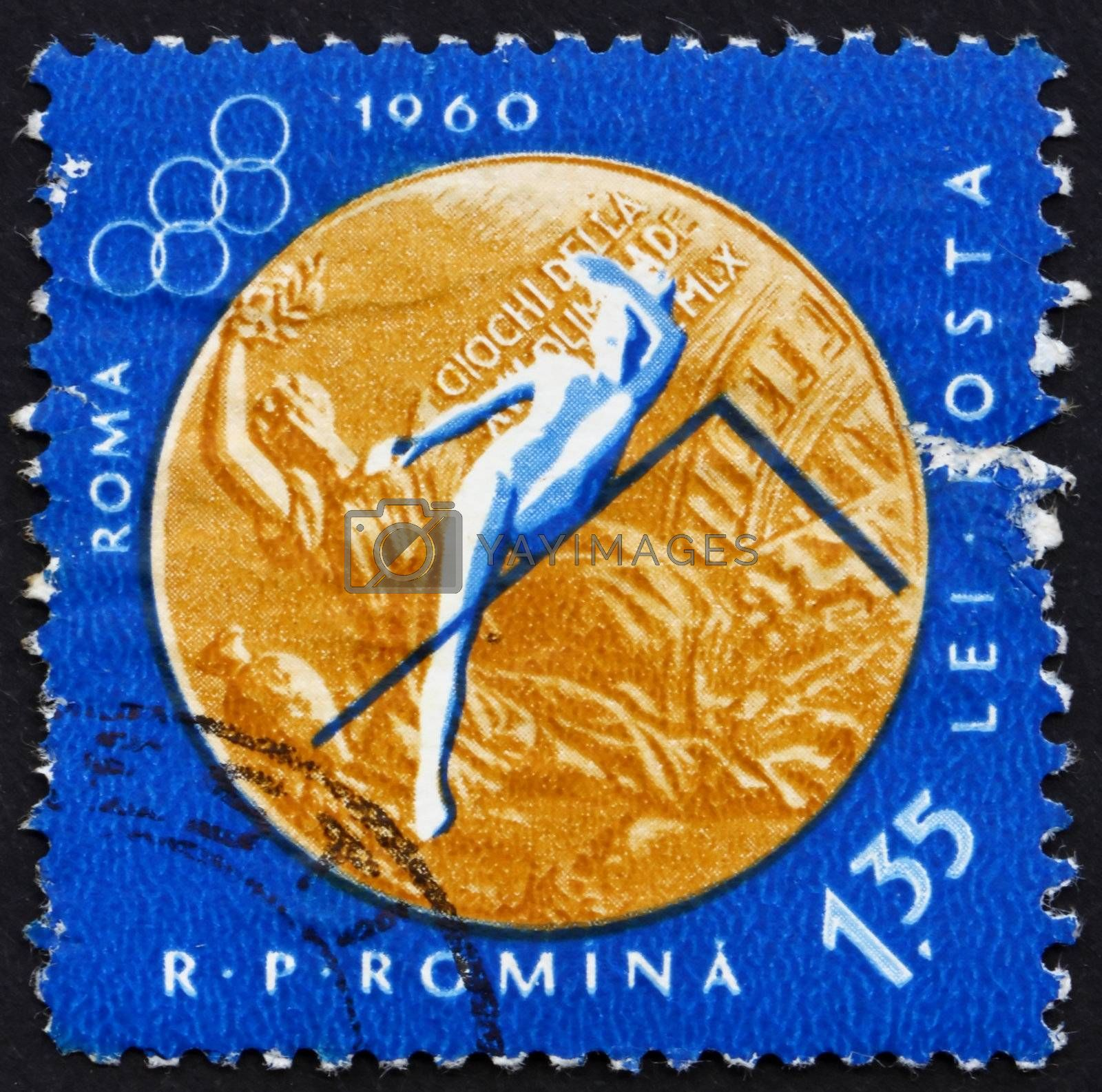 ROMANIA - CIRCA 1961: a stamp printed in the Romania shows Woman�s High Jump, Summer Olympic sports, Roma 60, circa 1961