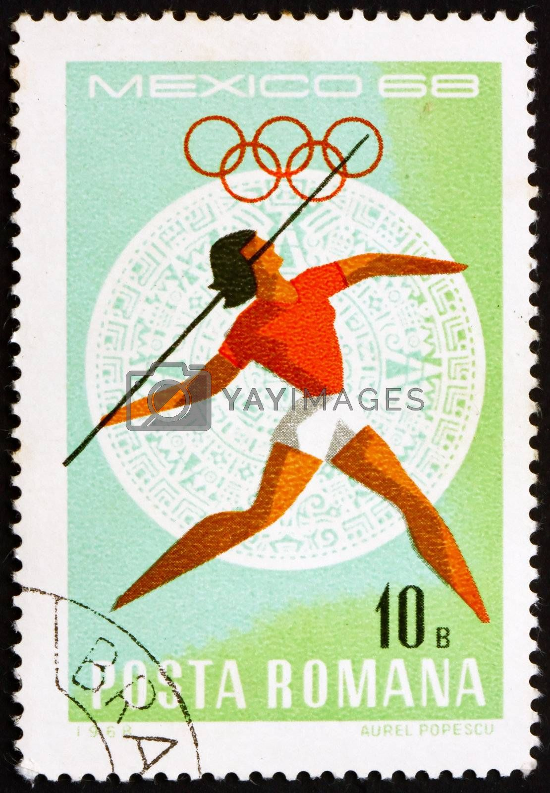 ROMANIA - CIRCA 1968: a stamp printed in the Romania shows Javelin, Women�s, Summer Olympic sports, Mexico 68, circa 1968