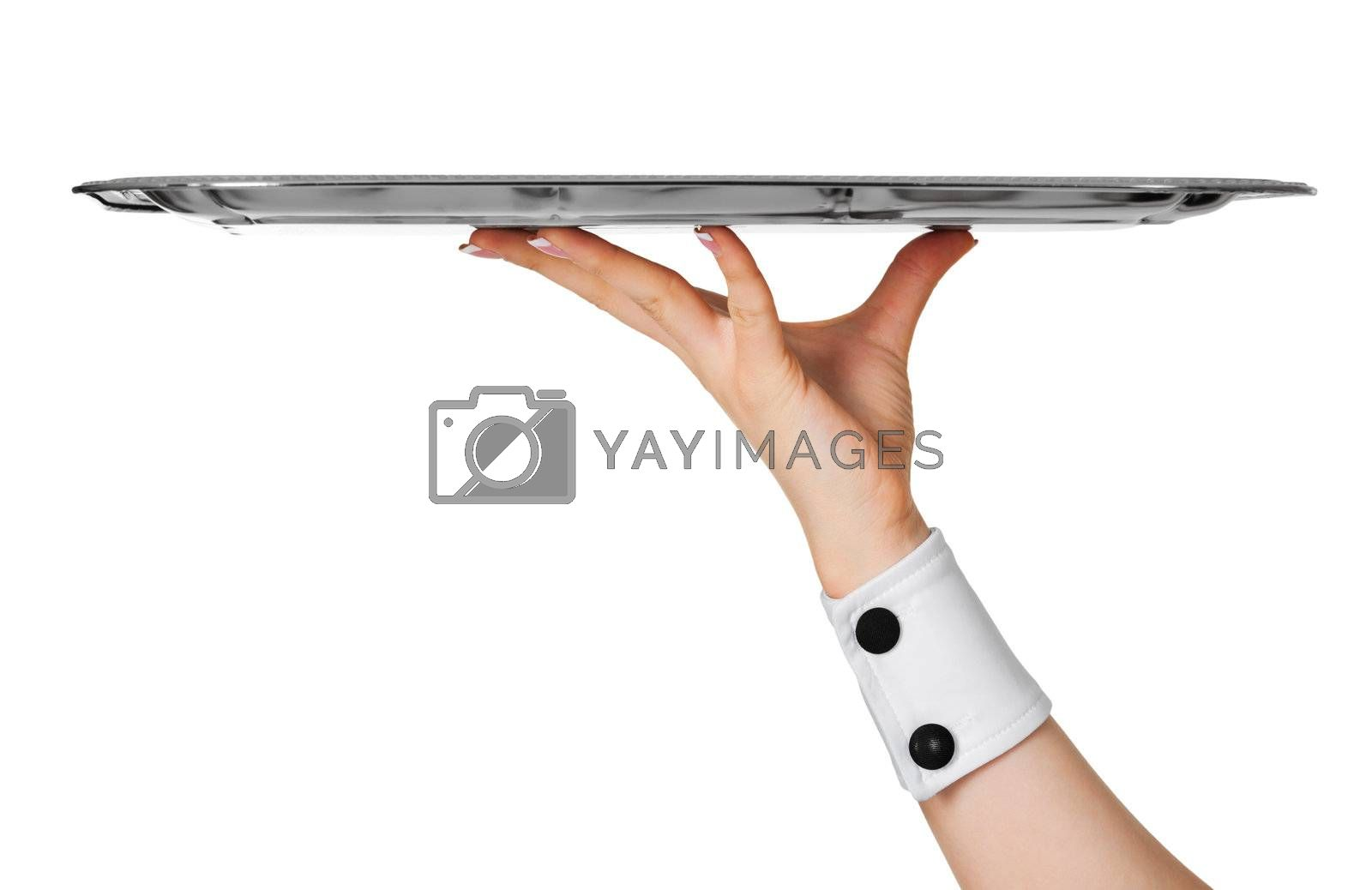 Waiter holding empty metal tray close up isolated on white background