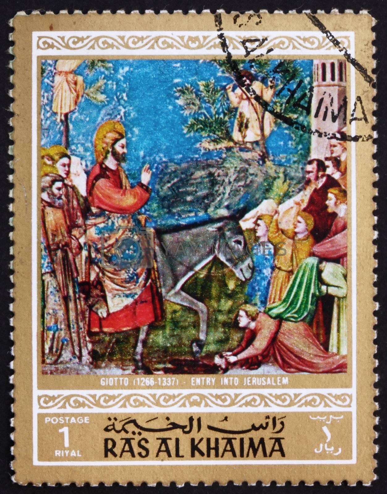 RAS AL-KHAIMAH - CIRCA 1970: a stamp printed in the Ras al-Khaimah shows Entry into Jerusalem, Painting by Giotto di Bondone, Life of Jesus Christ, circa 1970
