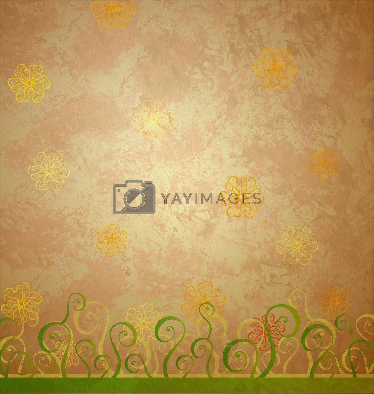 vintage style brown paper with yellow and green nature decor