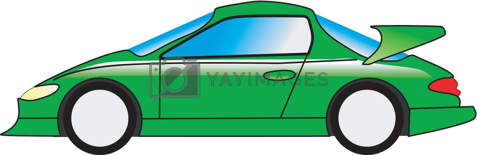a cartoon stylish illustration of sport car