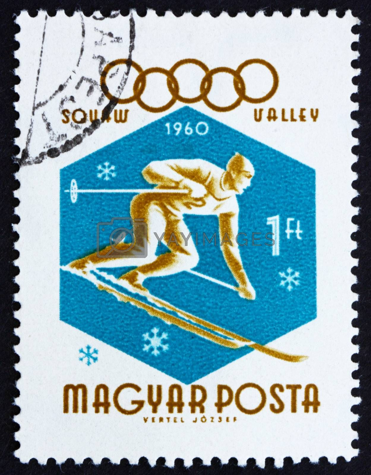 HUNGARY - CIRCA 1960: a stamp printed in the Hungary shows Downhill Skier, Winter Olympic sports, Squaw Valley 60, circa 1960