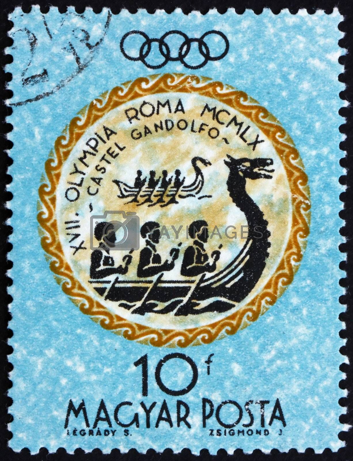 HUNGARY - CIRCA 1960: a stamp printed in the Hungary shows Rowers, Summer Olympic sports, Rome 60, circa 1960