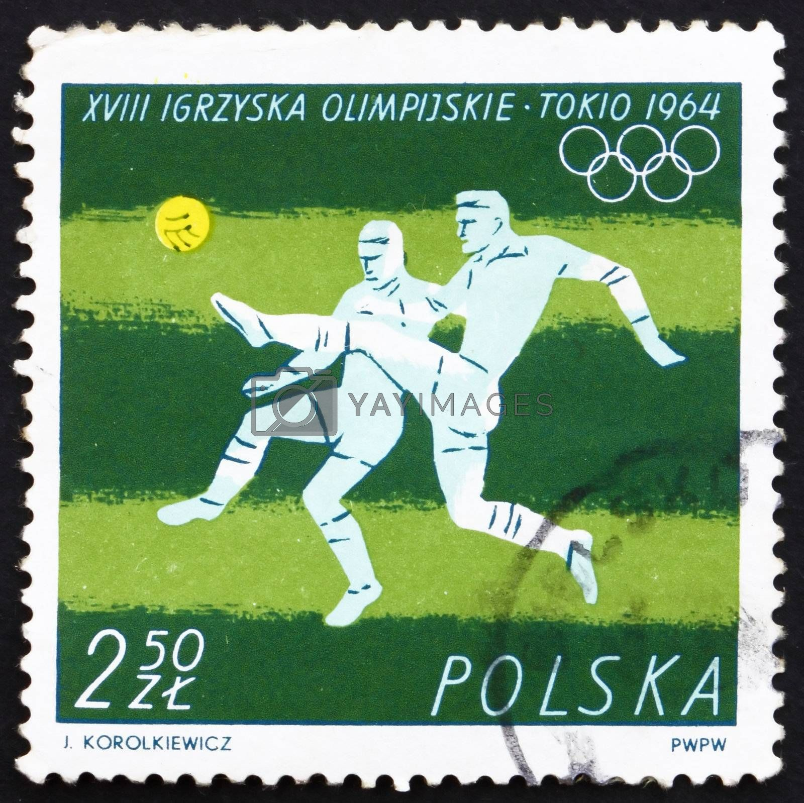 POLAND - CIRCA 1964: a stamp printed in the Poland shows Soccer, Football, Summer Olympic sports, Tokyo 64, circa 1964