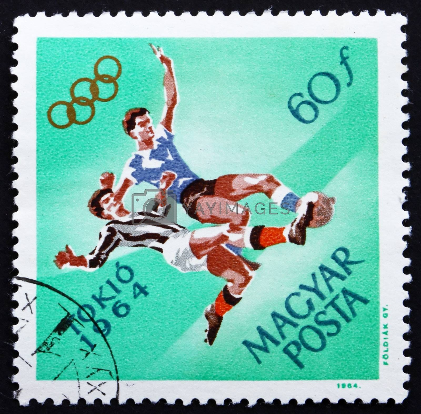 HUNGARY - CIRCA 1964: a stamp printed in the Hungary shows Soccer, Football, Summer Olympic sports, Tokyo 64, circa 1964