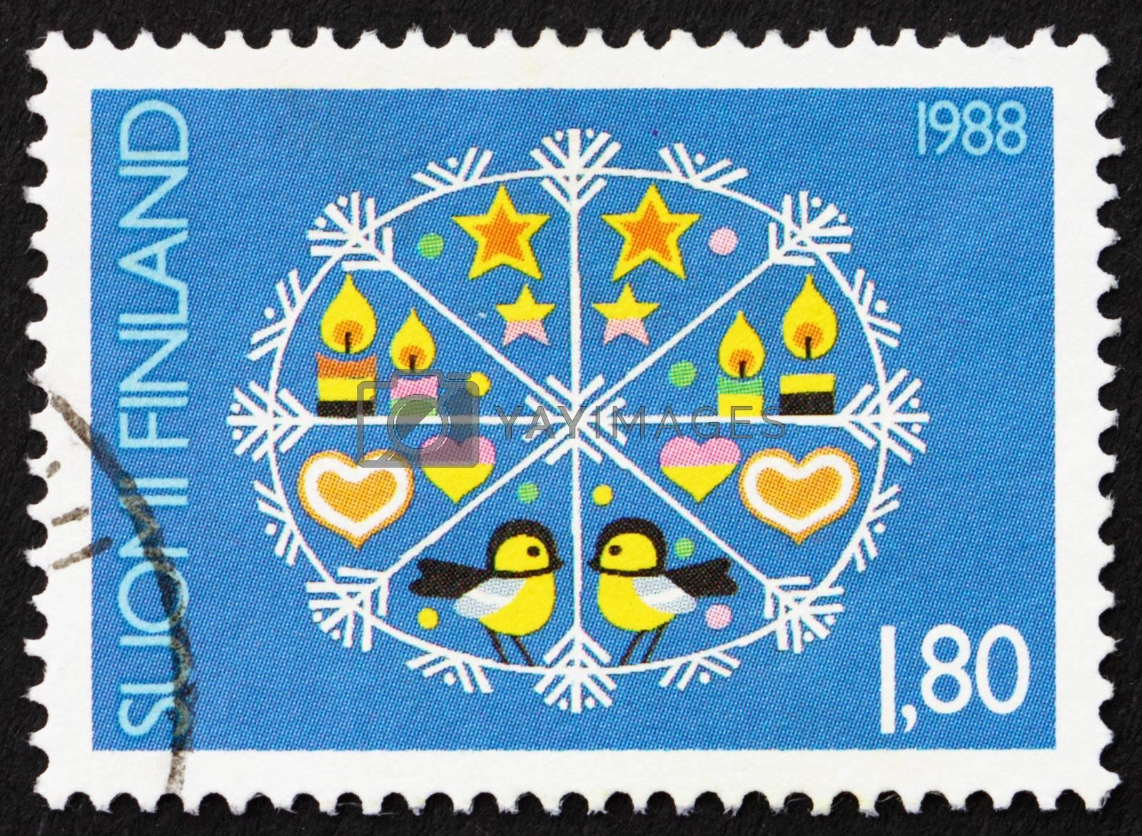 FINLAND - CIRCA 1988: a stamp printed in the Finland shows Christmas Design, circa 1988