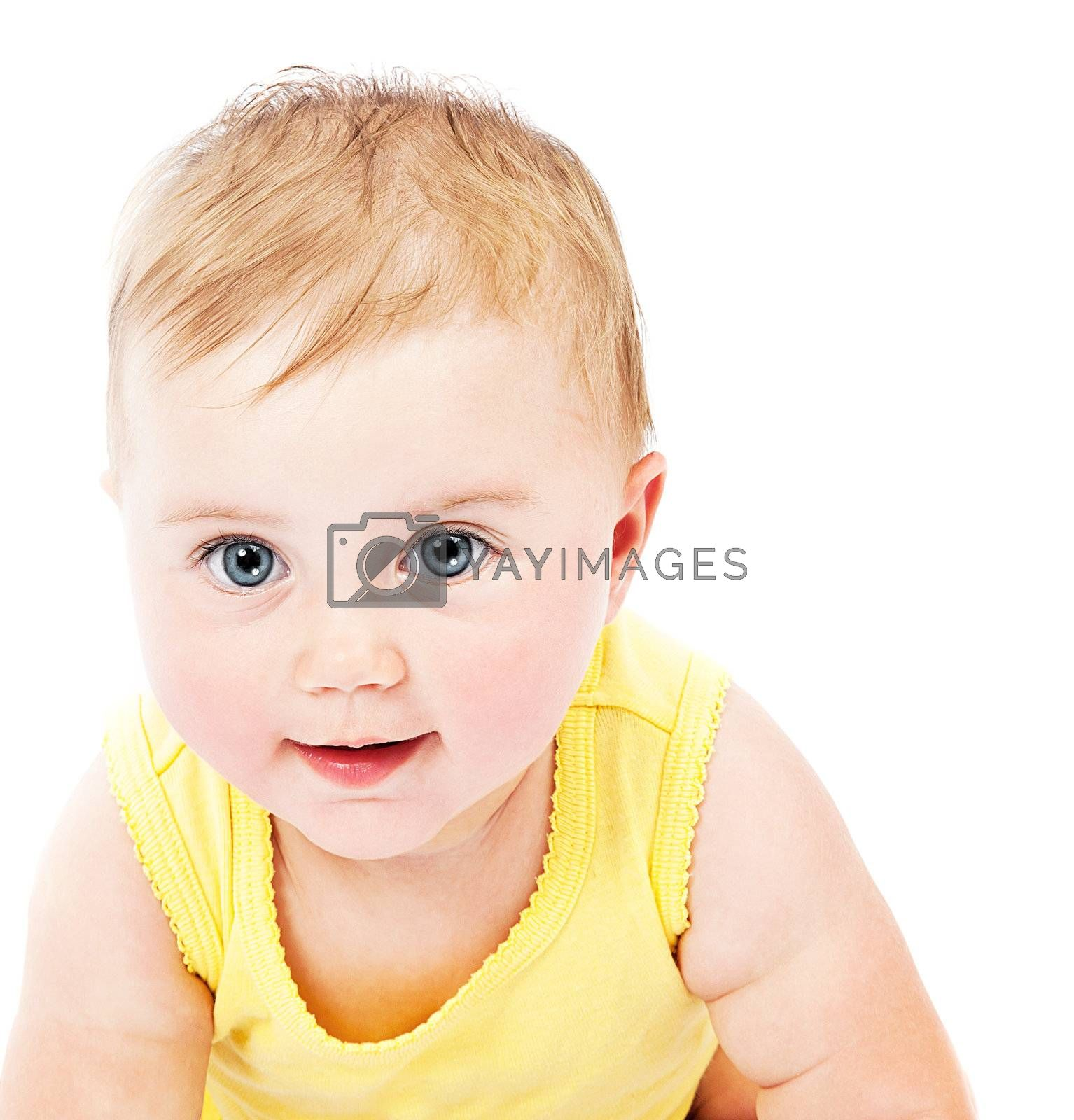 Cute baby face portrait isolated on white background
